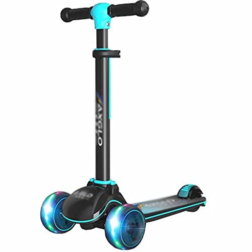 LJHBC Patinete Scooter de 3 Ruedas para niños con Ruedas iluminadas Altura Ajustable Inclinarse para dirigir para niñas y niños Mayores de 4 años Regalos(Color:Azul)