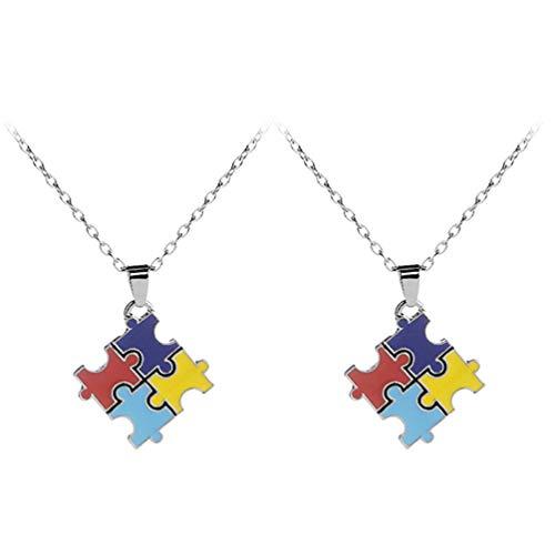 PRETYZOOM 2PCS Aço Inoxidável Liga Colar Pingente Autism Awareness Jigsaw Puzzle Piece Colar Unisex Presente