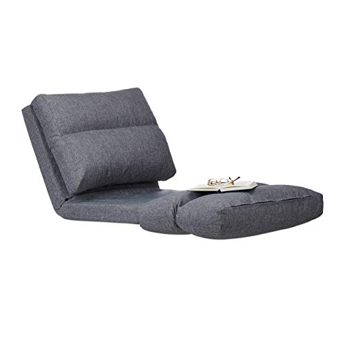 Relaxdays, grau Relaxliege Sessel, Faltmatratze, verstellbare Lehne, Polster, für Drinnen, Bodensitzkissen, 194 cm lang, Standard