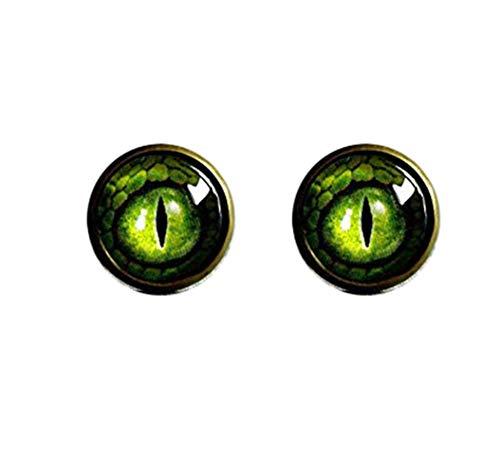 Death Devil Time Jewellery, Brincos de olho de dragão verde, brincos de pino de latão antigo, joias de olho de dragão, brincos de pino com redoma de vidro