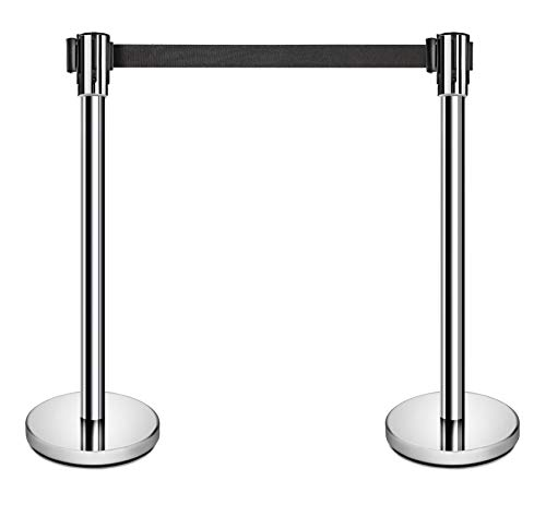 New Star Foodservice 54606 Stanchion, 36-Inch Height, 6.5-Foot Retractable Belt, Set of 2, Stainless Steel