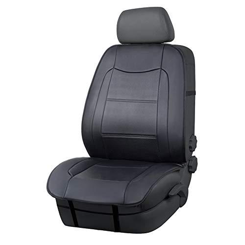 AmazonBasics – Luxuriöser Sitzbezug, seitenlos, universale Passform, aus Kunstleder, ohne Kopfstütze, schwarz