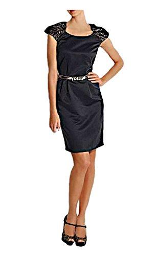 Heine Damen-Kleid Satinkleid mit Spitze Schwarz Größe 36