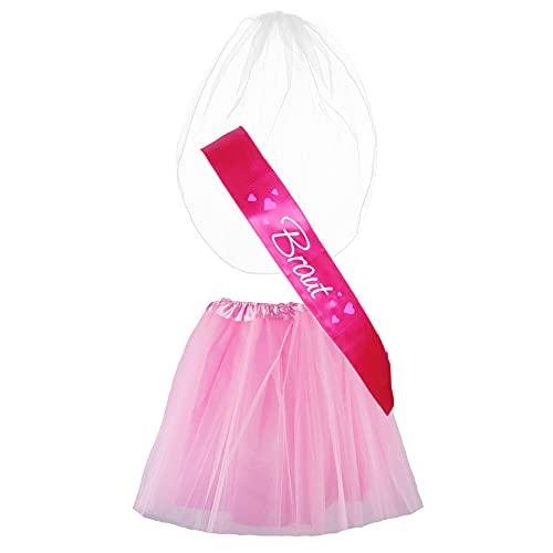 "Partybob JGA-Kostüm ""Braut"" - Junggesellinnenabschied-Verkleidung (32-36, Pink/Rosa)"