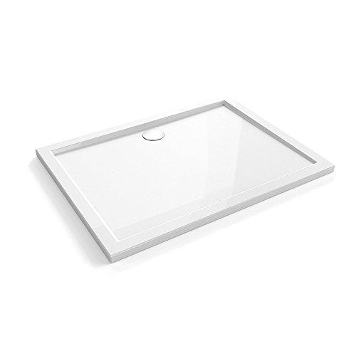 Duschtasse Duschwanne Amrum02 aus Acryl in hochglanz weiß | Maße: 800x1200x40mm | Ablaufdurchmesser 90mm