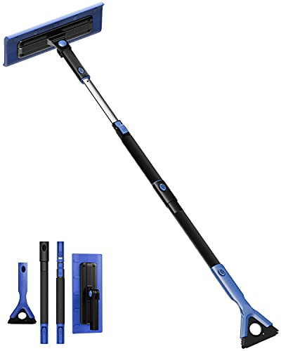 JOYTUTUS 47  Snow Broom and Ice Scraper Extendable Foam Car Snow Brush, Scratch Free, Foam Grip, Auto Window Windshield Snow Removal Brush for Car, SUV, Truck(Blue)