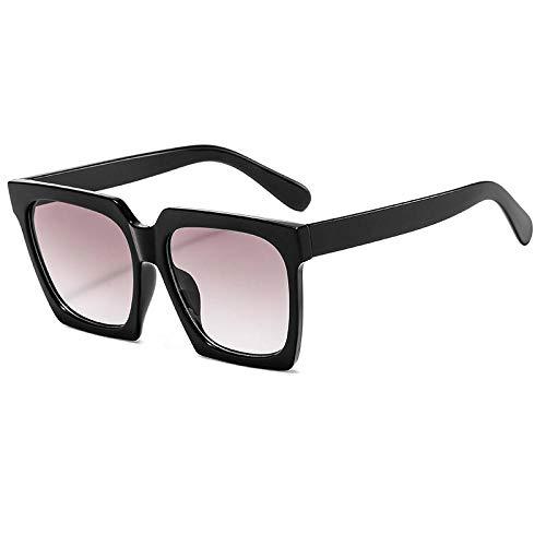 hqpaper Gafas de sol cuadradas para mujer 2020 nueva tendencia gafas de sol con montura grande-Bisagra metálica_Black negro doble gris