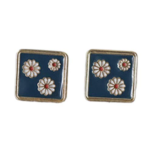 Joocyee 1 par de aretes de Margaritas de Flor de Esmalte Vintage Pendientes Cuadrados/Redondos joyería de Mujer, Pendiente para Mujer, Color 3