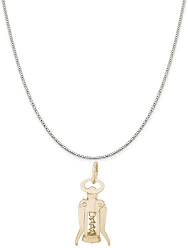 Rembrandt Charms Two Tone Sterling Silver Corkscrew Charm on a Sterling Silver Box Chain Necklace product image
