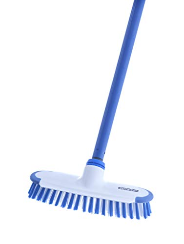 Superio Deck Scrub Brush with Long Handle 48 Inches, Heavy Duty Stiff Bristles Grout Scrubber with Scraper - Cleans Hot Tub, Swimming Pool, Granite Tiles, Bathroom, Patio, Kitchen, Wall and Deck