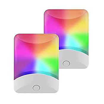 GE Color-Changing LED Night Light 2 Pack Plug-in Dusk-to-Dawn Home Décor for Kids Ideal for Bedroom Bathroom Nursery Kitchen Basement White Base 46722