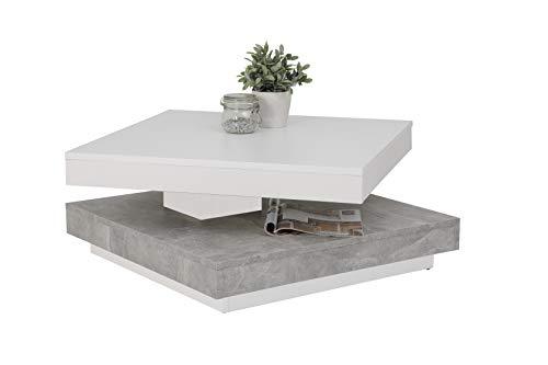 Couchtisch Andy, Holzwerkstoff ,Tischplatte drehbar 360°, Weiß/Beton, 67x67x35cm