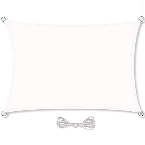 CelinaSun Sonnensegel inkl Befestigungsseile PES Polyester wasserabweisend imprägniert Rechteck 2 x 4 m weiß