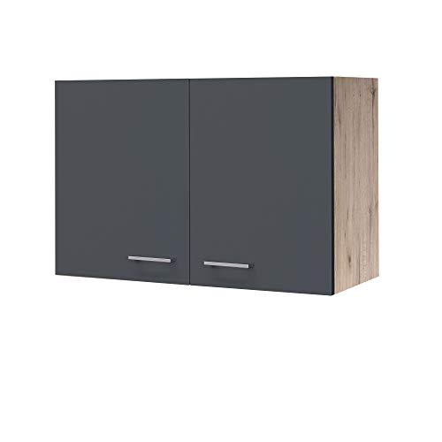 MMR Hängeschrank Küche LIVERPOOL - Küchenschrank - 2-türig - 80 cm breit - Basaltgrau Matt