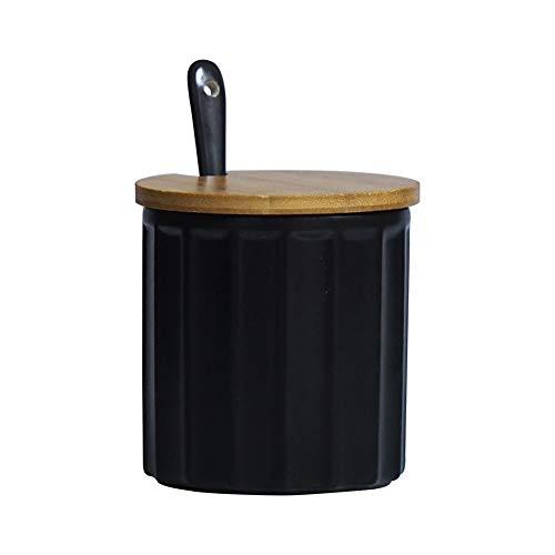 Zuccheriera in ceramica con coperchio in bambù e cucchiaino, design elegante, per casa e cucina, bianca, 270 ml Nero