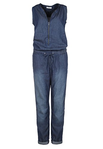 Sublevel Damen Jeans Overall | Bequemer Jumpsuit aus hochwertigem Denim | Used Washed One-Piece Dark-Blue XS