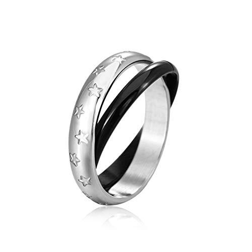 ROMQUEEN Siegelring Lagenstein Edelstahl Ring Für Männer Doppelter Ring,Schwarz,Ringgrößen 52 (16.6)