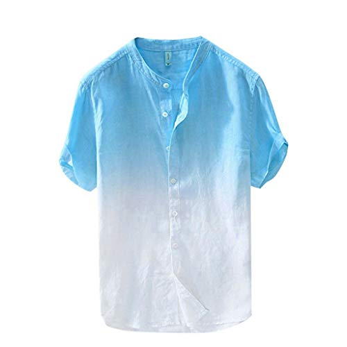 HIRIRI Summer Men's Casual Raglan Tye Die Short Sleeve T-Shirts Slim Fit Button Down Baseball Tee Tops Sky Blue