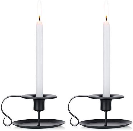 Nuptio 2 Pcs Retro Iron Candelabrum Simple Black Chamberstick Candlestick Holders Taper Candle product image