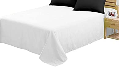 CC&DD HOME FASHION Flat Sheets,1800 Series Ultra Soft Brushed Microfiber Flat Bed Sheet Only (White, 2-Pack Full)
