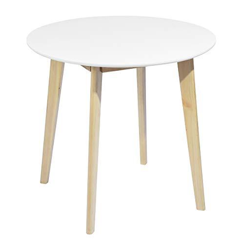 Mueble de Comedor Redondo de salón escandinavo de 2 a 4 Personas, Mesa de Cocina Moderna con Patas de Madera, Pino, Blanco, 80 x 80 x 75 cm