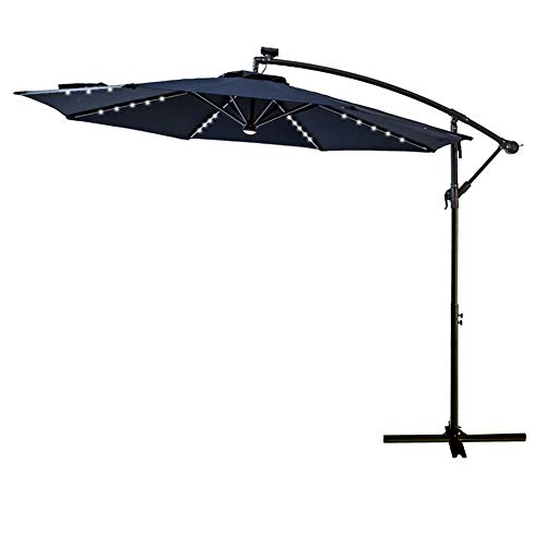 FLAME&SHADE 10 ft Offset Cantilever Outdoor Patio Umbrella with Solar LED Lights - Navy Blue