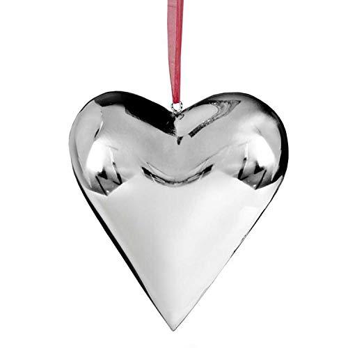 EDZARD Edelstahl Herz, Silber Deko zum Hängen ca. 22 x 22 x 4,5 cm