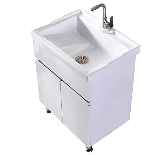 LCF Roestvrijstalen badkamerkast, modern design wand-iteliteitsset met 2 deuren en onderbouw-harwasbak en chroom-kraancombinatie wit