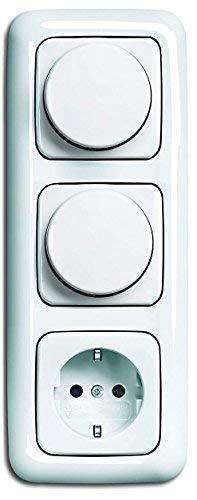 LED Dimmer Set BUSCH JÄGER, 2 x LED-Drehdimmer -alpinweiß- -Reflex SI- 6523-U 102 (6523 U-102) 3 fach Rahmen + Steckdose mit integriertem Berührungsschutz (Kinderschutz)