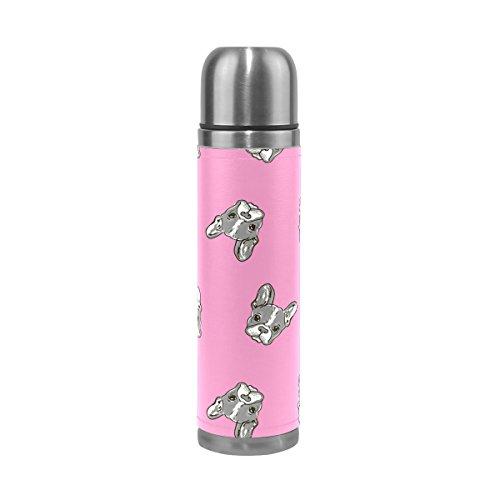 Ffy Go Travel Mug, chiens d'impression personnalisé Thermos en acier inoxydable LeakProof Thermos isotherme extérieur Cuir pour filles garçons Rose 500 ml