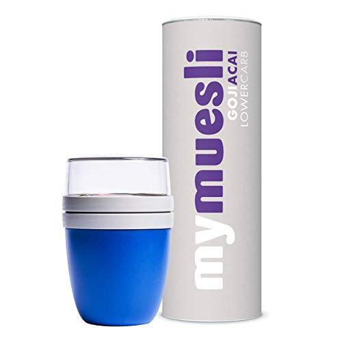 mymuesli 2Go Müslibecher Probierpaket - 2Go Becher blau (300 ml & 500 ml) & mymuesli Lower Carb Müsli Goji-Acai (575g) - Hergestellt in Deutschland aus 100% Bio-Zutaten