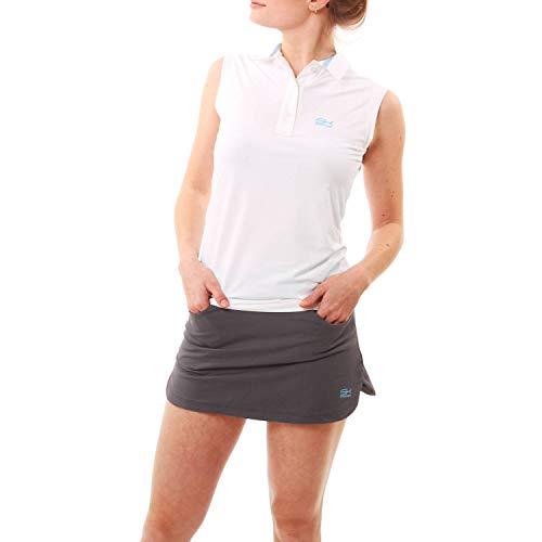 Sportkind Mädchen & Damen Tennis, Golf, Segeln, Funktions Poloshirt ärmellos, UV-Schutz UPF 50+, Weiss, Gr. XL