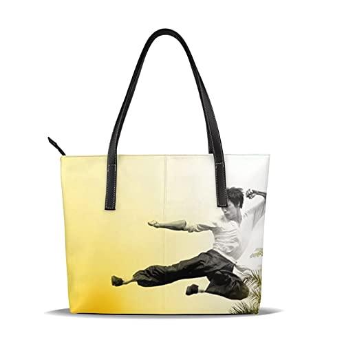 Bruce Lee - Bolso de piel para mujer, tamaño grande, simple y elegante, con un solo hombro