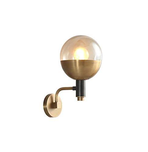 Creatieve wandlamp van koper met glazen kap bedlampje slaapkamer spiegel wandlampen decoratieve retro