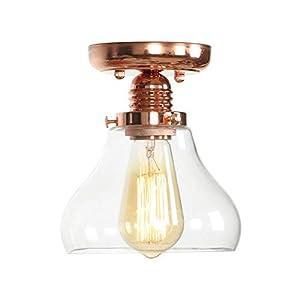 Ganeep Lámparas de techo de cristal de oro rosa vintage para sala de estar Dormitorio Porche Loft Decoración industrial LED E27 Edison Luces de techo Lamparas De Techo