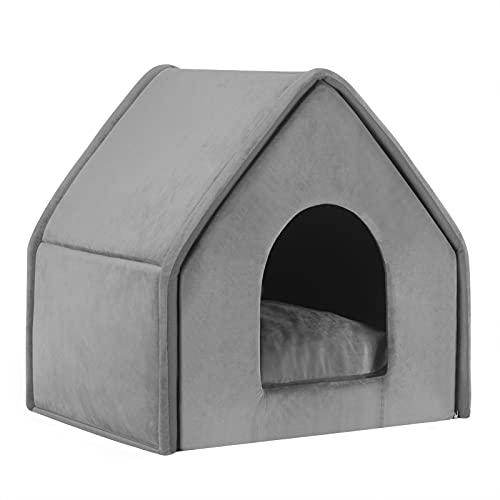 EUGAD Hundehaus Hundehöhle Katzenhaus Katzenhöhle für Beagle Dackel Shiba Inu Grau L 50x45x50cm 0018GD