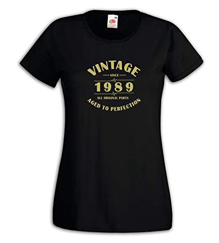 Settantallora - Camiseta de Mujer J3875 Vintage Since 1989 All Original Parts Aged to Perfection Idea Regalo cumpleaños