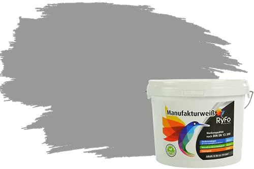 RyFo Colors Bunte Wandfarbe Manufakturweiß Elefantengrau 3l - weitere Grau Farbtöne und Größen erhältlich, Deckkraft Klasse 1, Nassabrieb Klasse 1