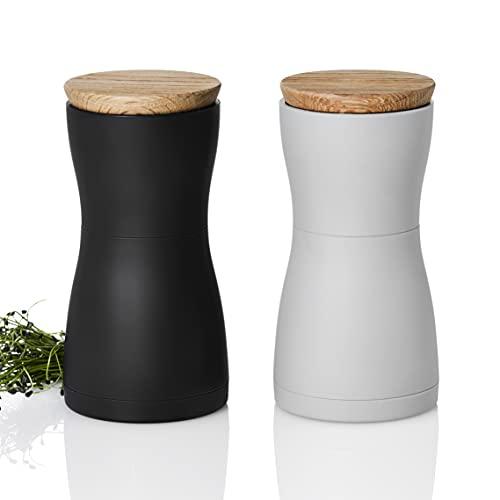 AdHoc MP125 Set Pfeffer- und Salzmühle TWIN, Keramik Mahlwerk, Kunststoff/Holz