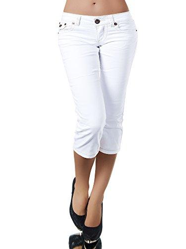 K900 Damen Capri Jeans Hose Damenjeans Caprihose Caprijeans Bermuda Dicke Naht, Farben:Weiß, Größen:40 (L)