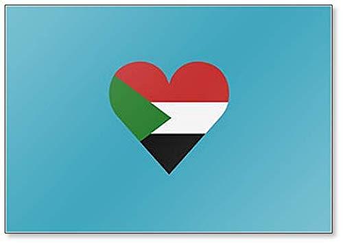 Kühlschrankmagnet Sudan Flagge in Herzform