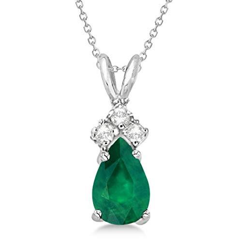 Pendente a pendente con diamante solitario con smeraldo e diamanti Collana in oro bianco 14 kt (0,75 ct), pendente in oro 14 kt