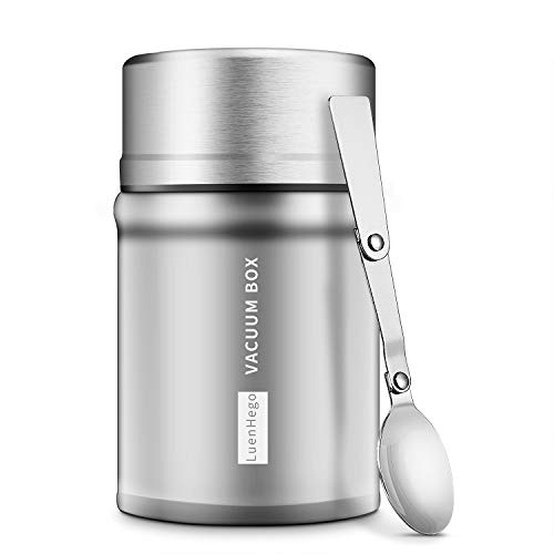 Insulated Food Jar Lunch Container for Hot Food 26 oz Termos Para Comida Caliente Wide Mouth Soup Thermos LuenHego Leak Proof with Folding Spoon for School Office Travel Outdoors - Original
