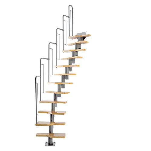 DOLLE Raumspartreppe mit 12 Stufen | Geschosshöhe 240,5-292 cm | Multiplex mit Buche-Deckfurnier | Treppe mit Geländer | Bausatz | einfache Montage | Gerade bis ¼-gewendelt