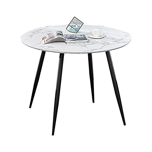 Mesa de comedor redonda Jollle, blanco mármol, 100 x 100 x 75 cm,