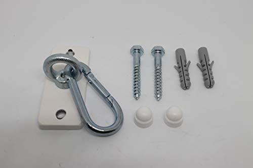 Eisen-Maenicke Decken- & Wandhalterung | Boxsackhalterung | weiß mit Karabinerhaken | bis 140 kg