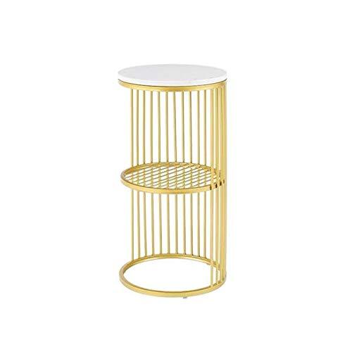BZ-ZK Couchtisch, Doppelschichtiger Runder Marmortisch Nachttisch Schlafzimmer Rostschutz Goldene Farbe Halterung Konsolentisch, 30 * 30 * 60CM(Color:Schwarz,Size:30 * 30 * 60CM)