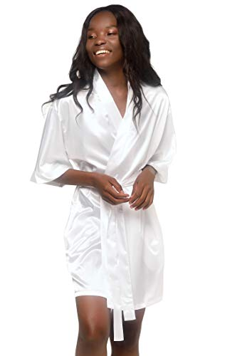 Turquaz Linen Satin Kimono Bridesmaids Robe (Large, White)