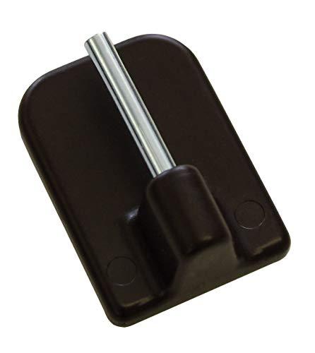 GARDINIA Klebehaken für Vitragestangen, 4 Stück, Mit Stahlstift, Selbstklebend, Höhe: 11 mm, Braun