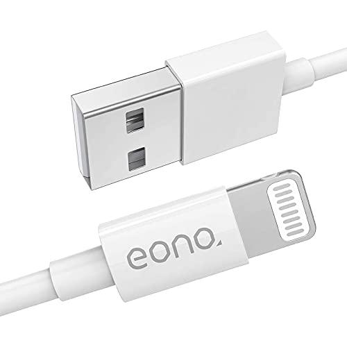 Amazon Brand - Eono Cavo per iPhone USB Lightning 2M - [Certificato Apple MFi] Cavo di Rapida Caricabatterie per iPhone 12 Pro Mini Pro Max 11 Pro Max Xs XR 8 7 6s 6 Plus SE 5 5s 5c - Originale Bianco